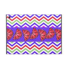 Summer Fun Grapefruit Slice Chevron Polka Dot Gift Cover For iPad Mini