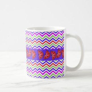 Summer Fun Grapefruit Slice Chevron Polka Dot Gift Basic White Mug