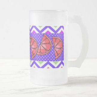 Summer Fun Grapefruit Slice Chevron Polka Dot Gift Coffee Mugs