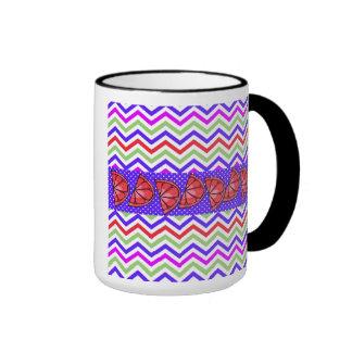 Summer Fun Grapefruit Slice Chevron Polka Dot Gift Ringer Mug