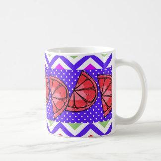 Summer Fun Grapefruit Slice Chevron Polka Dots Basic White Mug