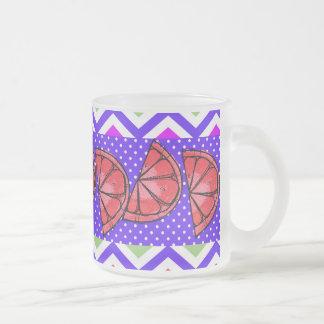 Summer Fun Grapefruit Slice Chevron Polka Dots Frosted Glass Mug