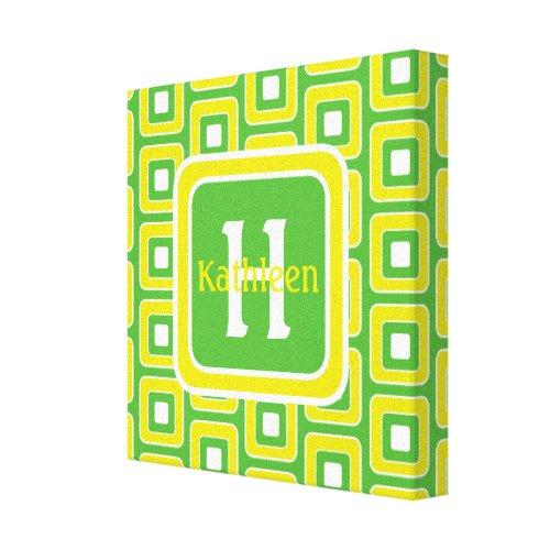 Summer Fun Green and Yellow Tiles Monogram Canvas Print - seasonal wall art