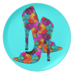 Summer Fun High Heel Shoes Party Plate