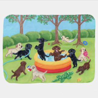 Summer Fun Labradors Painting Baby Blanket