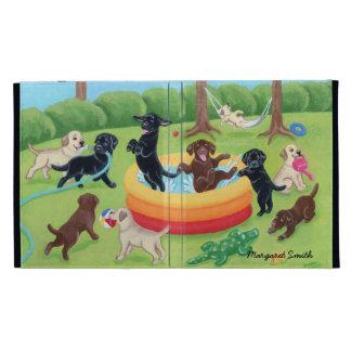 Summer Fun Labradors Painting iPad Folio Case