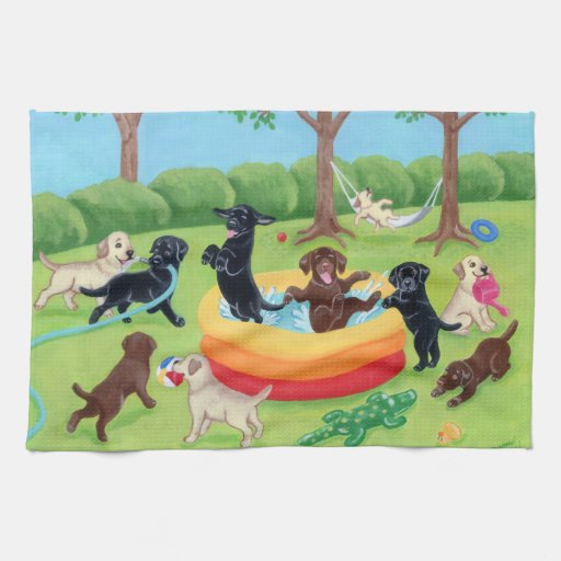 Summer Fun Labradors Painting Hand Towels