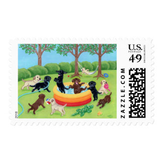 Summer Fun Labradors Painting Stamps