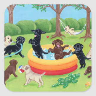 Summer Fun Labradors Painting Square Sticker