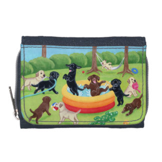 Summer Fun Labradors Painting Wallet