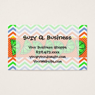 Summer Fun Limes Chevron Polka Dot Business Cards