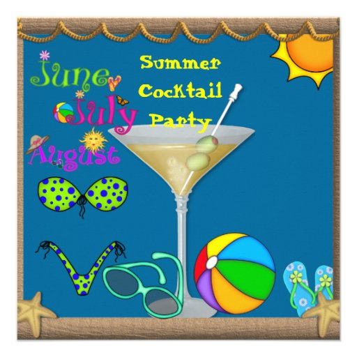Summer Fun Martini Pool Party Invitations