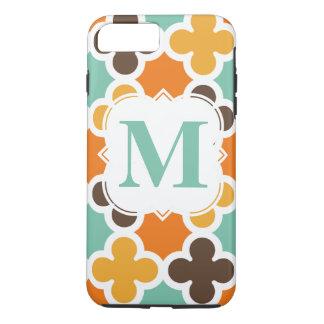 Summer Fun Monogram Retro Quatrefoil Pattern iPhone 7 Plus Case