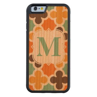 Summer Fun Monogram Retro Quatrefoil Pattern Carved® Cherry iPhone 6 Bumper