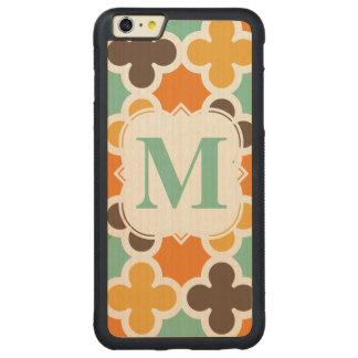 Summer Fun Monogram Retro Quatrefoil Pattern Carved® Maple iPhone 6 Plus Bumper Case