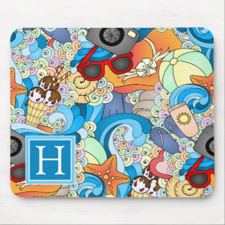 Summer Fun Pattern | Add Your Initial Mouse Pad