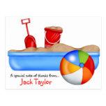 Summer Fun Sand box Beach Ball Postcard