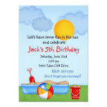 "Summer Fun Sand Box Birthday Invitations 5"" X 7"" Invitation Card"