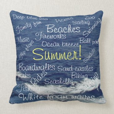Beach Themed Summer Fun Sayings Beach Waves Relaxation Throw Pillow