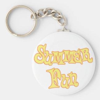 Summer Fun Text Design Basic Round Button Keychain