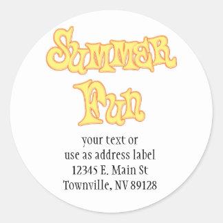 Summer Fun Text Design Classic Round Sticker