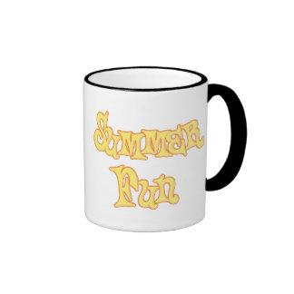Summer Fun Text Design Ringer Coffee Mug