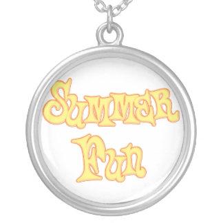 Summer Fun Text Design Round Pendant Necklace