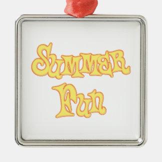 Summer Fun Text Design Square Metal Christmas Ornament
