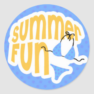 Summer Fun with Blue Bikini Classic Round Sticker