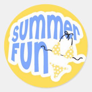 Summer Fun Yellow Bikini Classic Round Sticker