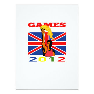 Summer Games 2012 Athlete With Flaming Torch Retro Personalized Invite