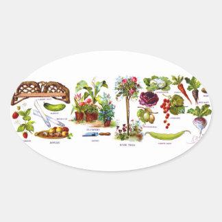 Summer Garden Botanicals Oval Sticker