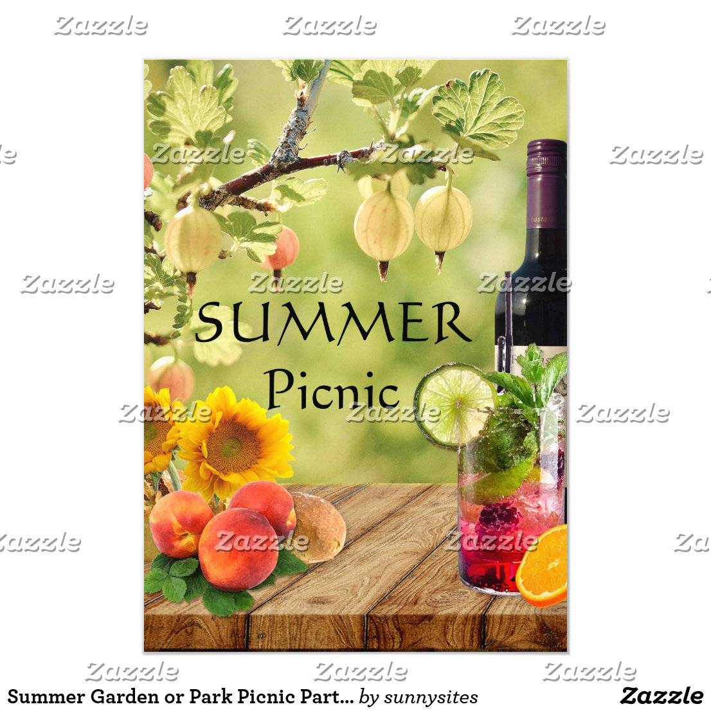Summer Garden or Park Picnic Party Invitation