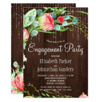Summer garden rustic roses engagement party card