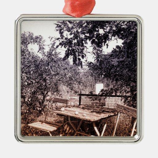 summer garden square metal christmas ornament