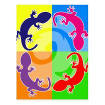 Summer gecko pop postcard