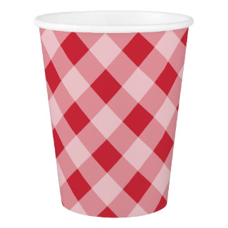 Summer Gingham BBQ Cookout Picnic Party Paper Cups