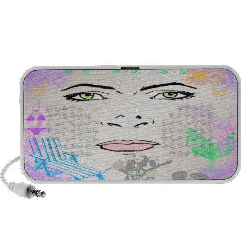 Summer Girl Doodle iPhone Speaker