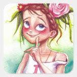 Summer girl square sticker