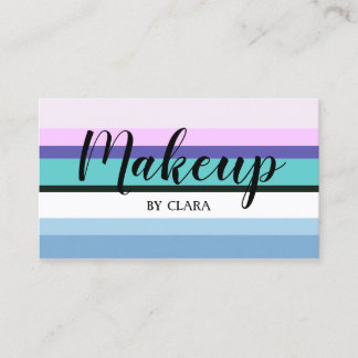 Summer girly mermaid inspired stripe colorful business card