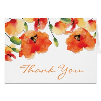 Summer Golden Poppy Wedding Card