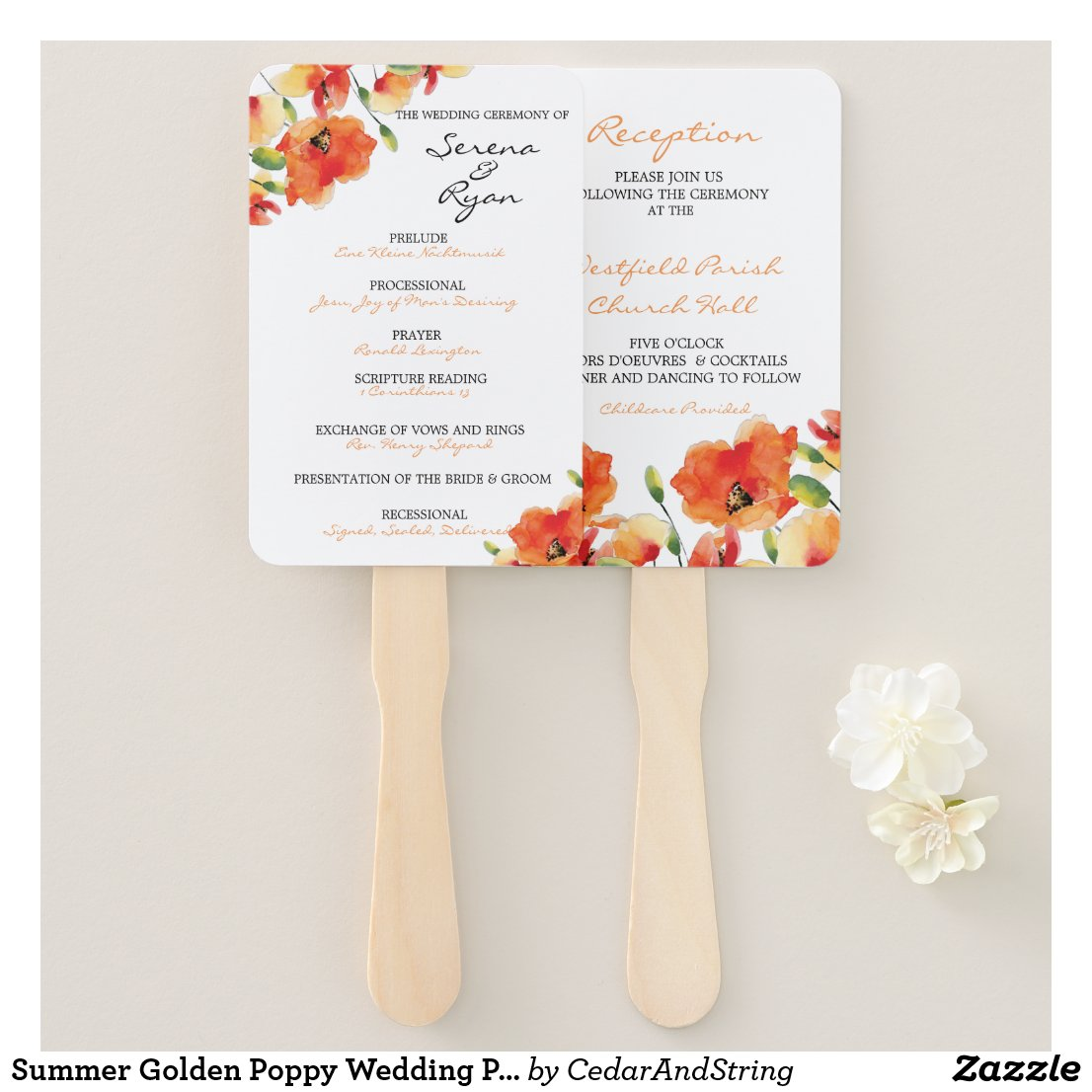 Summer Golden Poppy Wedding Program Fan Combo