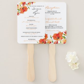 Summer Golden Poppy Wedding Program Fan Combo