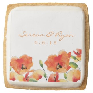 Summer Golden Poppy Wedding Square Shortbread Cookie