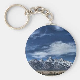 Summer Grand Teton Range Basic Round Button Keychain