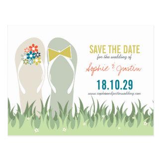 Summer Grass Daisies Cute Flip Flops Save The Date Postcard