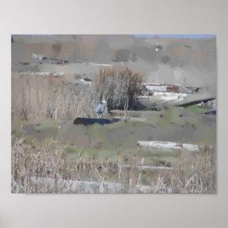 Summer Grassy Dike and Wetland Gouache Poster