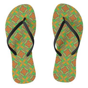 Beach Themed Summer Green Flip Flops