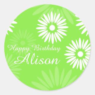 Summer Green flowers Happy Birthday Name sticker