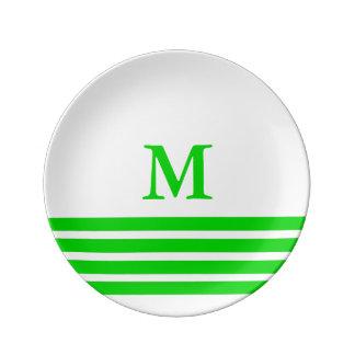 Summer Green Four Stripe Monogram on White Plate